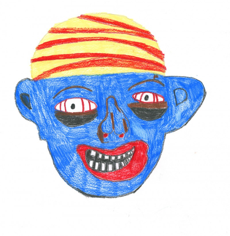 Mask with Yellow/Red Hat