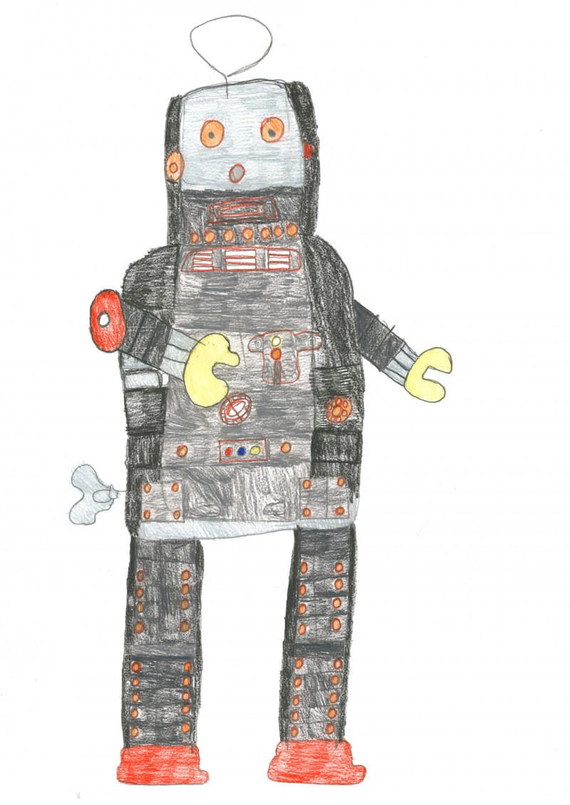 Grey and Black robot