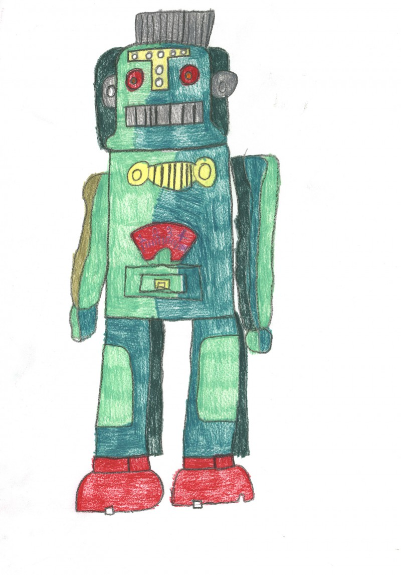 Two Green and Red Robots
