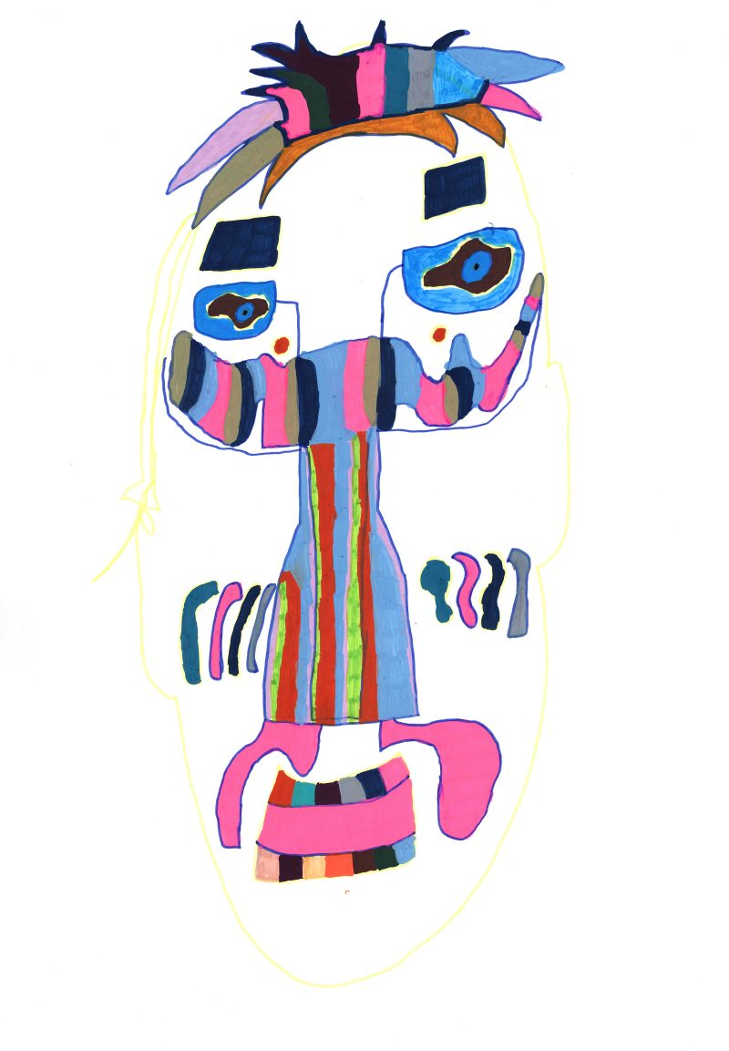 Mask with Pink Moustache