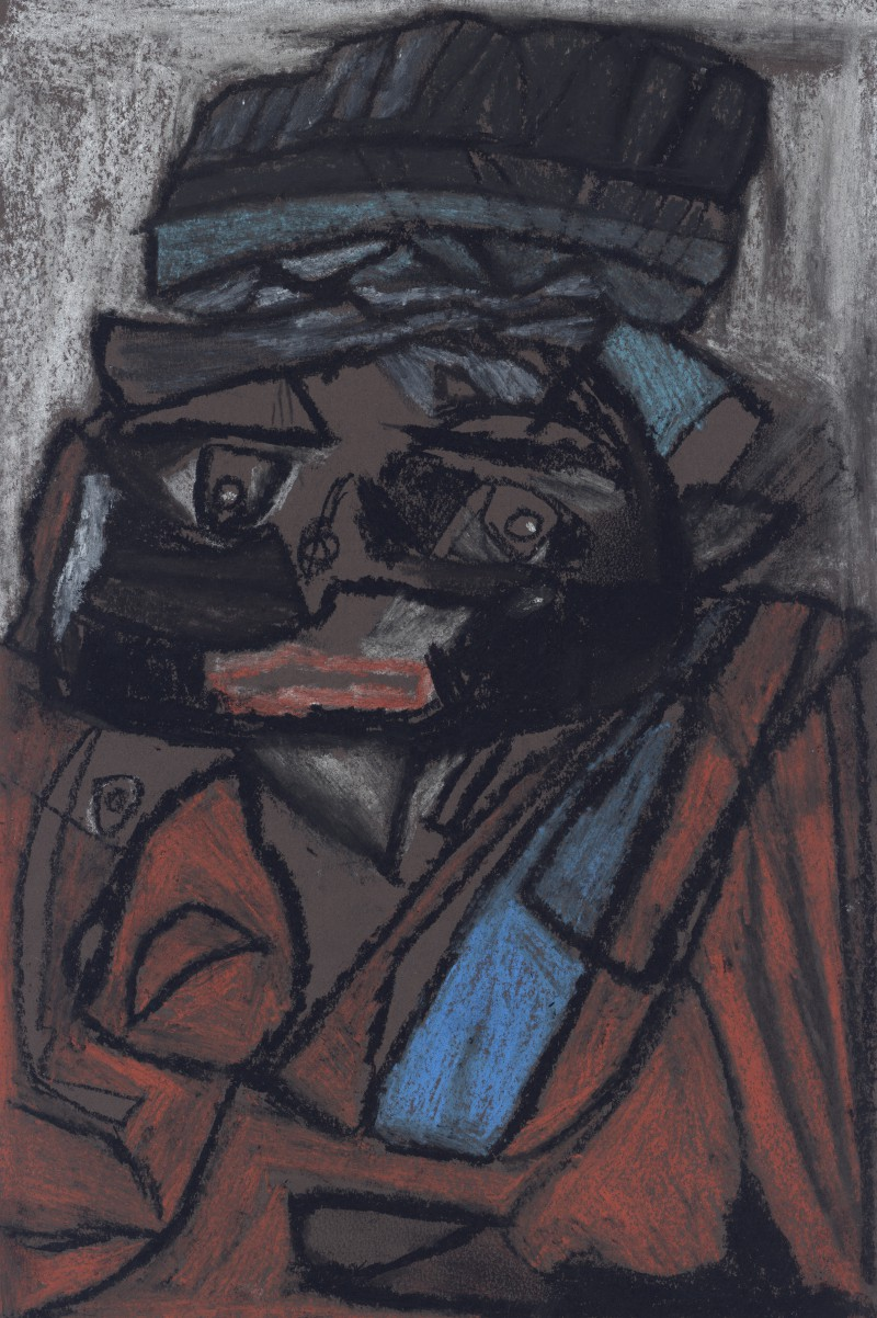 Figure with Blue Grey Hat