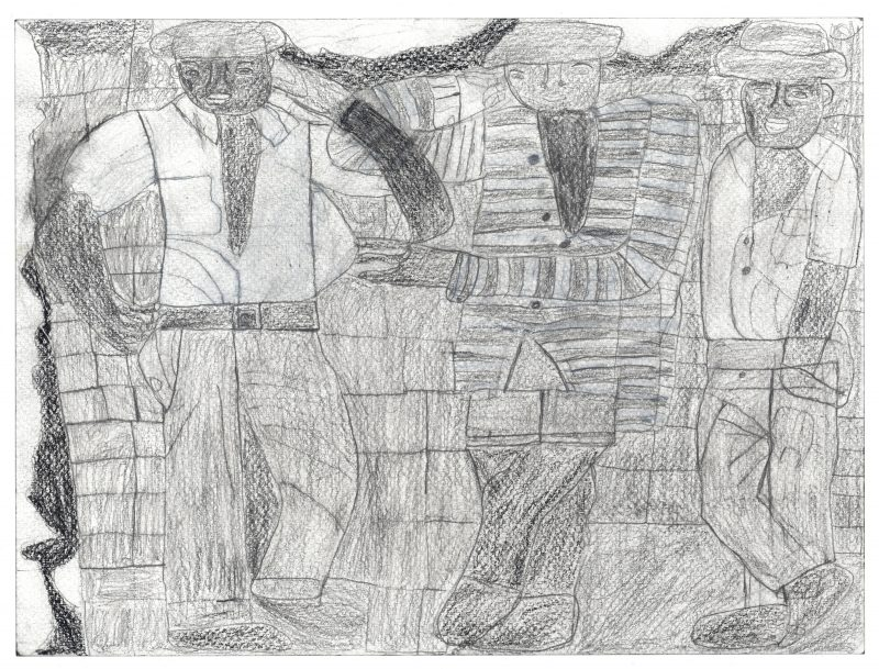 Three Men Leaning Against a Wall