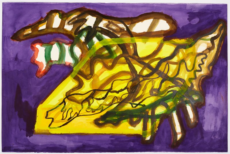Henry Nzekwu, Purple and Yellow, Branches in a Box, 2018