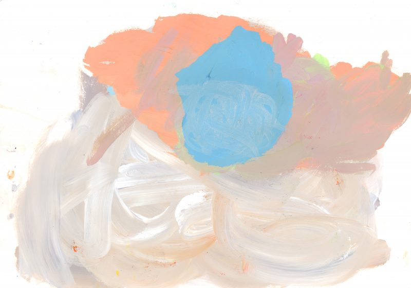 Blue Floating on Peach