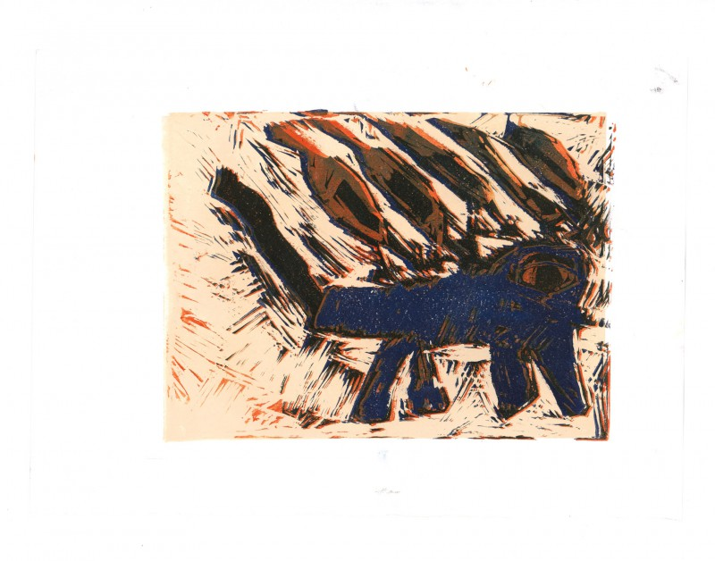Lion Linocut
