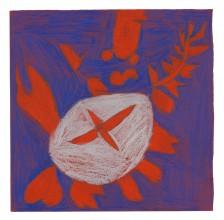 Mawuena Kattah, Red and Grey Flower, 2014