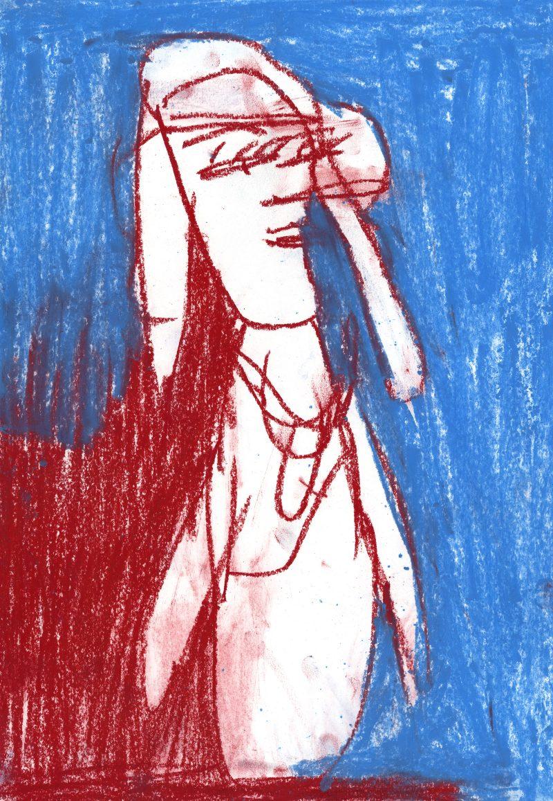 Pink Lady on Blue