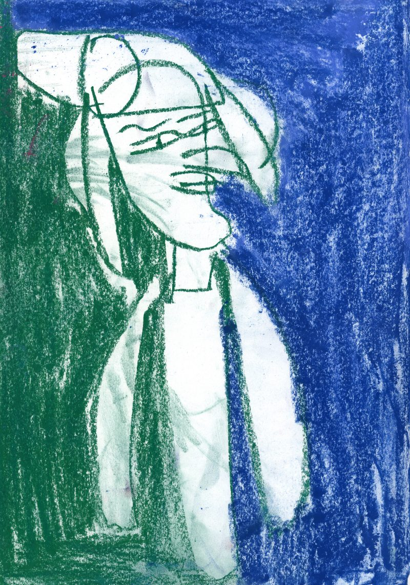Green Lady on Blue