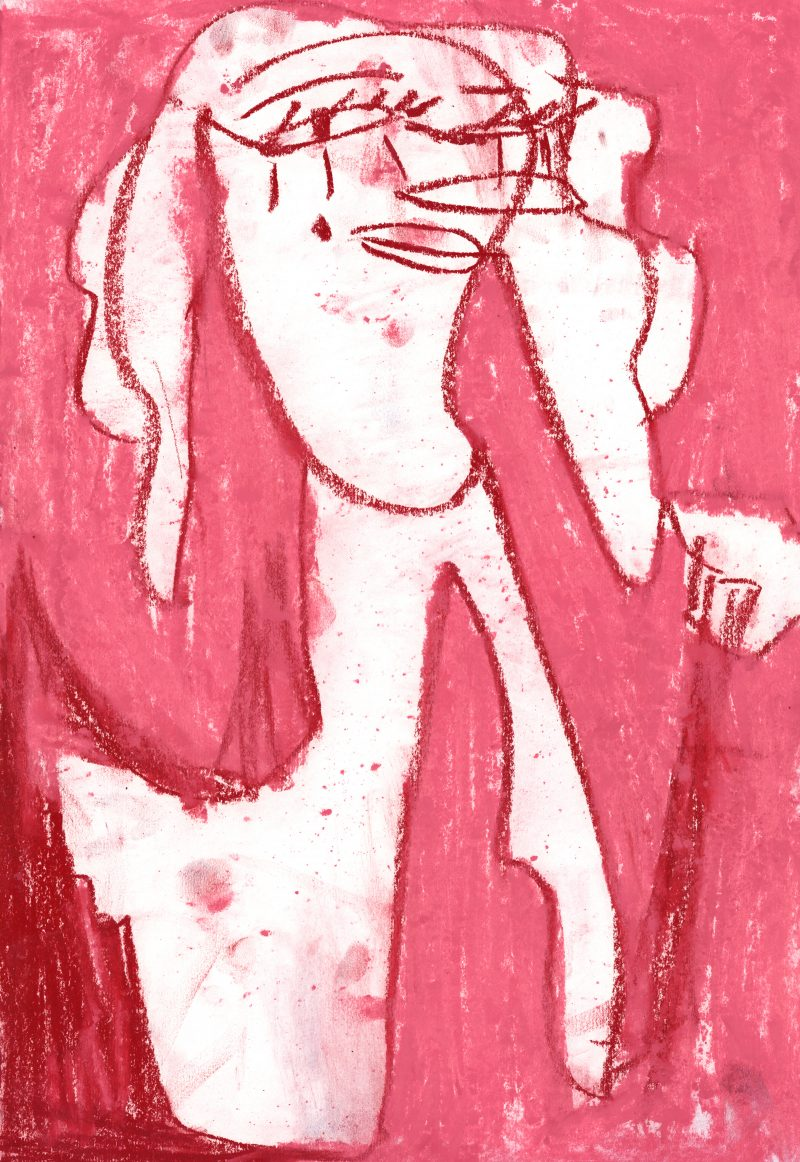 Red Lady on Pink